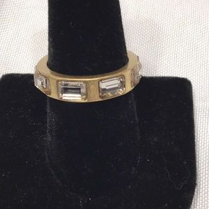 Lia Sophia Gold Ring Set with clear stones sz 9